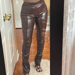 Faux leather pants chocolate brown size MEDIUM